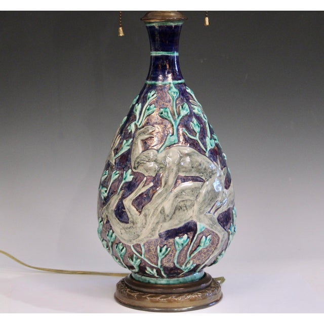 Vintage 1920s Jean Mayodon French Art Deco Gilt Pottery Vase Lamp For Sale - Image 11 of 13