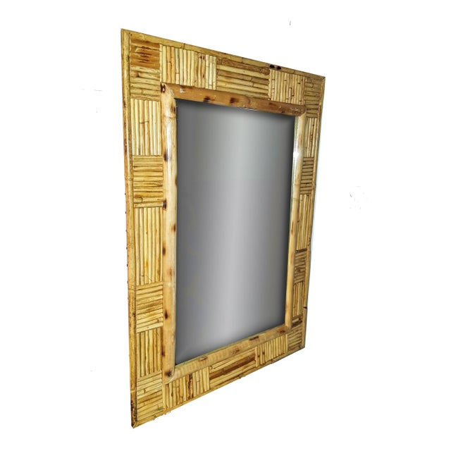 Boho Chic Vintage Pencil Reed Rattan Mosaic Patchwork Patterned Framed Wall Mirror For Sale - Image 3 of 7
