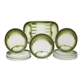 Midcentury French Asparagus Dinner Set, 14 Pieces