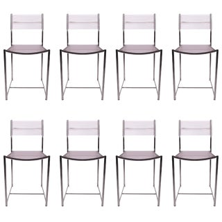 Set of Eight Fly Line Dining Chairs by Giandomenico Belotti For Sale