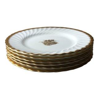 Vintage Minton Bone Gold Crocus Plates - Set of 6 For Sale