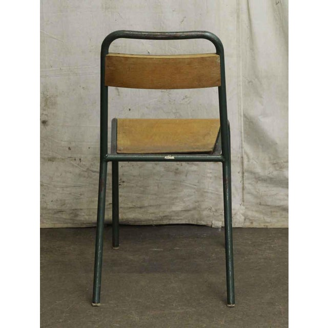 Vintage French Steel Wood School Chair For Image 4