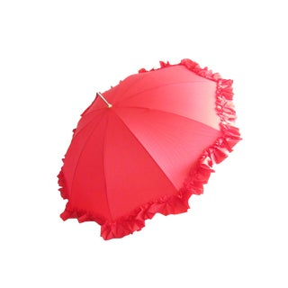 1960s Vintage Frilly Red Umbrella For Sale