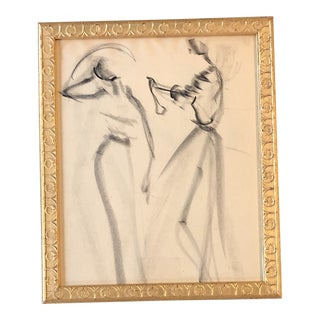 Vintage Original Charcoal Study Drawing Abstract Female Figures 1950's For Sale