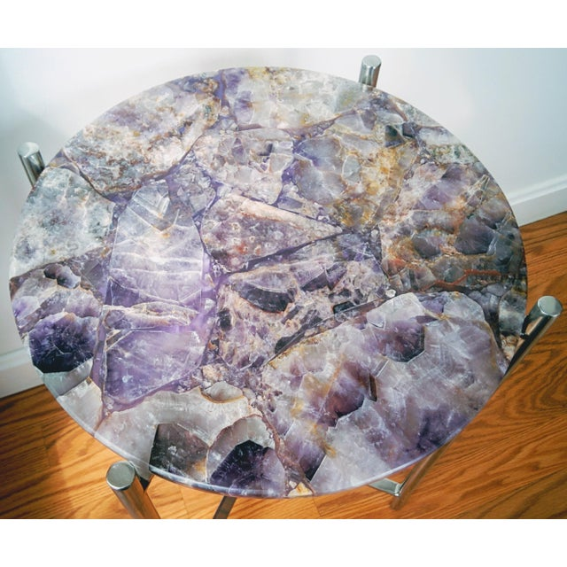 Lavender Amethyst & Chrome Side Table - Image 4 of 9
