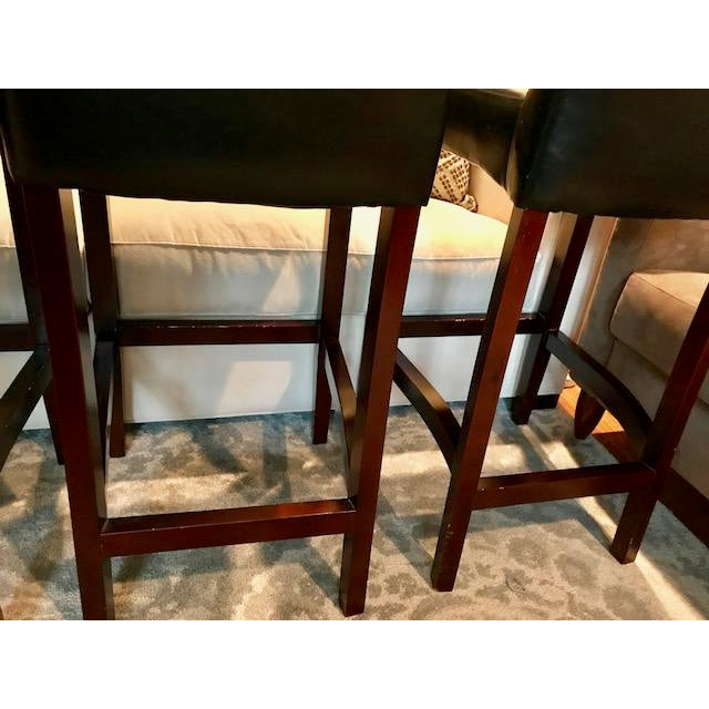 Top-Grain Leather Bar Stools, Classic and Clean-Lined - Set of 4 - Image 7 of 11