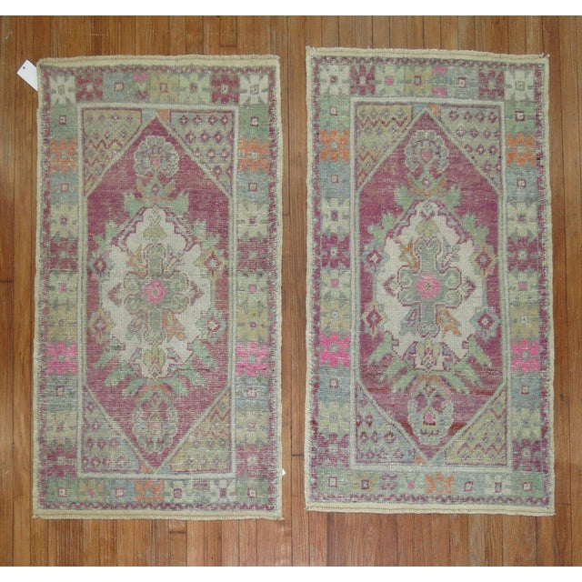 Rare Pair of hand-knotted one of a kind turkish anatolian rugs, circa mid 20th century