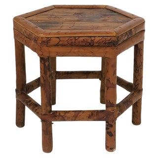 Small Bamboo Side or Drinks or Pedestal Table For Sale