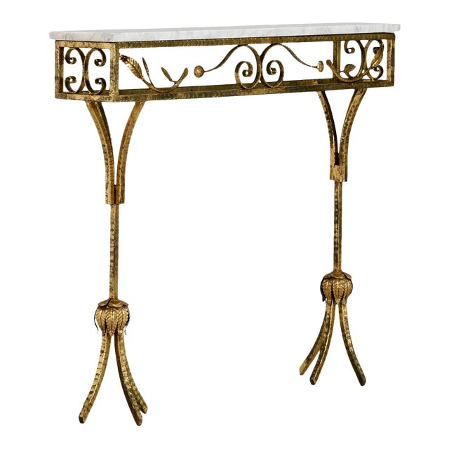 French Gilt Iron Wall Hung Console with Marble Top For Sale