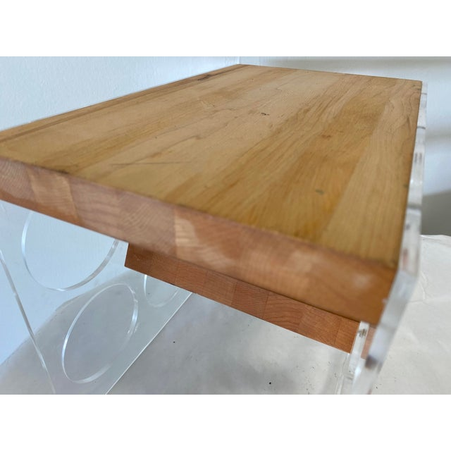 Mid-Century Lucite and Butcher Block Wine Holder and Cheese Board For Sale In Washington DC - Image 6 of 8