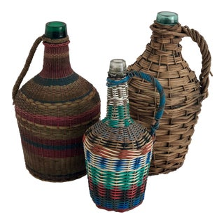 French Wrapped Demijohns - Set of 3 For Sale