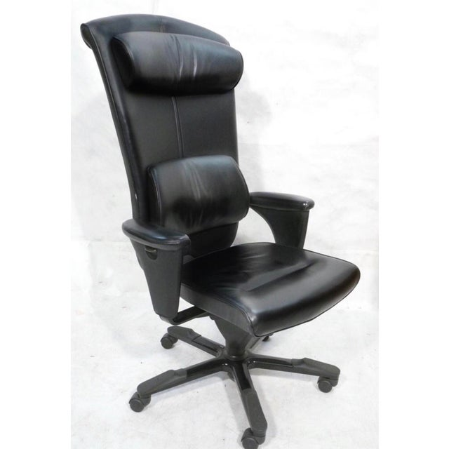 Black Leather Hag Signet Executive Chair - Image 2 of 4