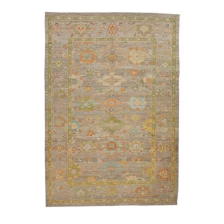 """Contemporary Turkish Oushak Rug With Pastel-Colored Flower-11'4""""x16'4 For Sale"""