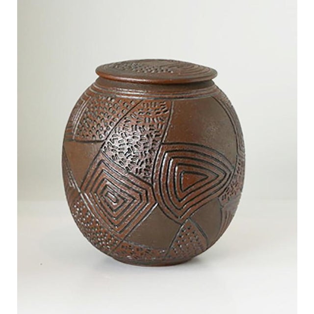 1980s J Chin Incised Pottery Jar For Sale - Image 4 of 8