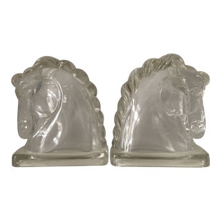 Vintage Clear Glass Horse Head Bookends - a Pair For Sale