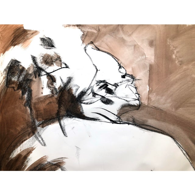 """Contemporary Figure Drawing in Orange and Black, """"Queen Gloria"""" by David O. Smith For Sale - Image 10 of 12"""