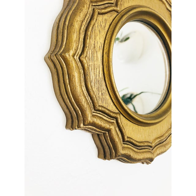 Boho Chic Vintage Petite Faux Gilt Wood Round Mirror For Sale - Image 3 of 6