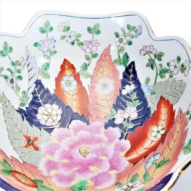 Metal Large Chinese Porcelain Tobacco Leaf Bowl With Gold Trim - Feng Shui - Asian Palm Beach Boho Chic Flowers Peony Tropical Coastal For Sale - Image 7 of 13