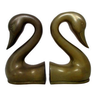 Brass Swan Bookends, a Pair For Sale
