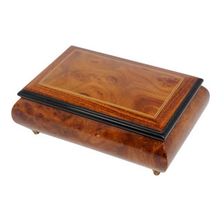 Footed Wooden Jewelry Music Box Made in Italy For Sale