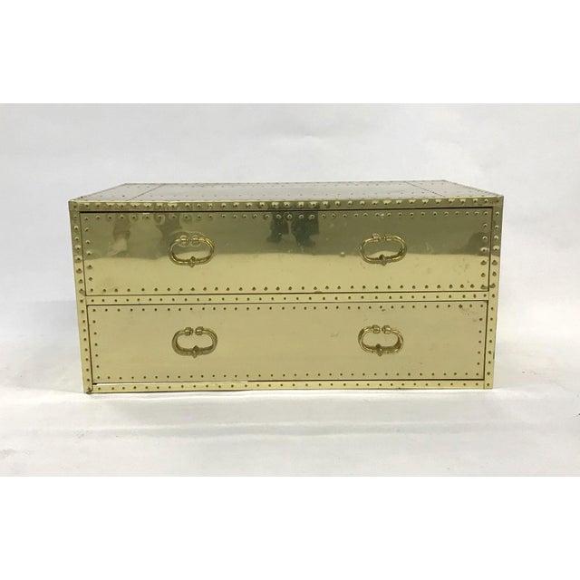 Vintage Sarreid Ltd Two-Drawer Brass-Clad Chest For Sale - Image 10 of 11