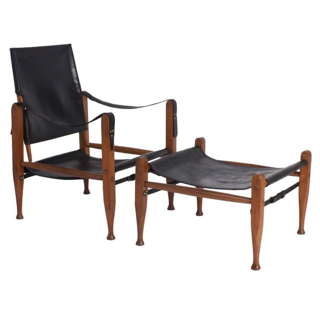 Safari Chair and Ottoman - A Pair For Sale - Image 9 of 9
