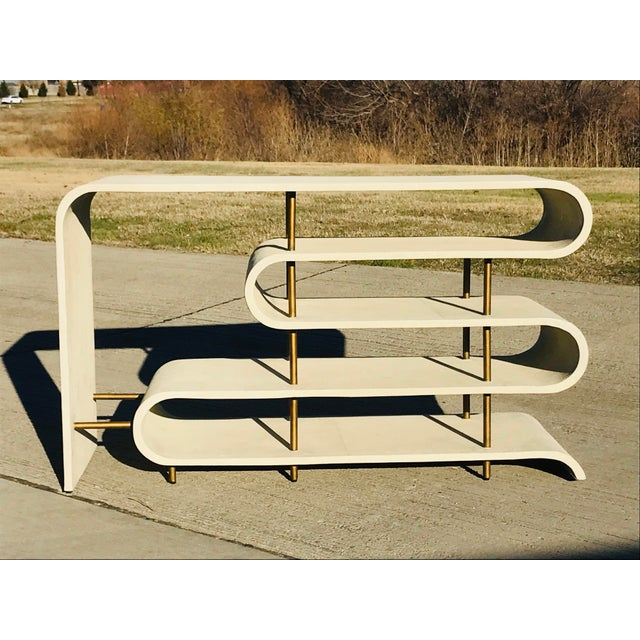 2010s Modern Shangreen Ribbon Brass Sculptural Console Table For Sale - Image 5 of 8