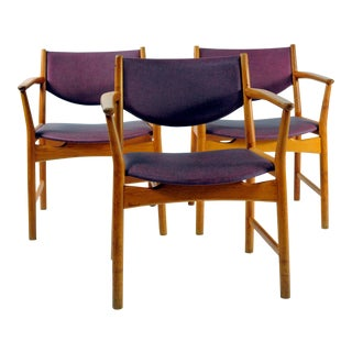 1960s Aksel Bender Madsen / Ejnar Larsen Oak Model Elena Armchairs - Set of 3 For Sale