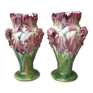 1880s Majolica Tulip Vases Signed Delphin Massier - a Pair For Sale