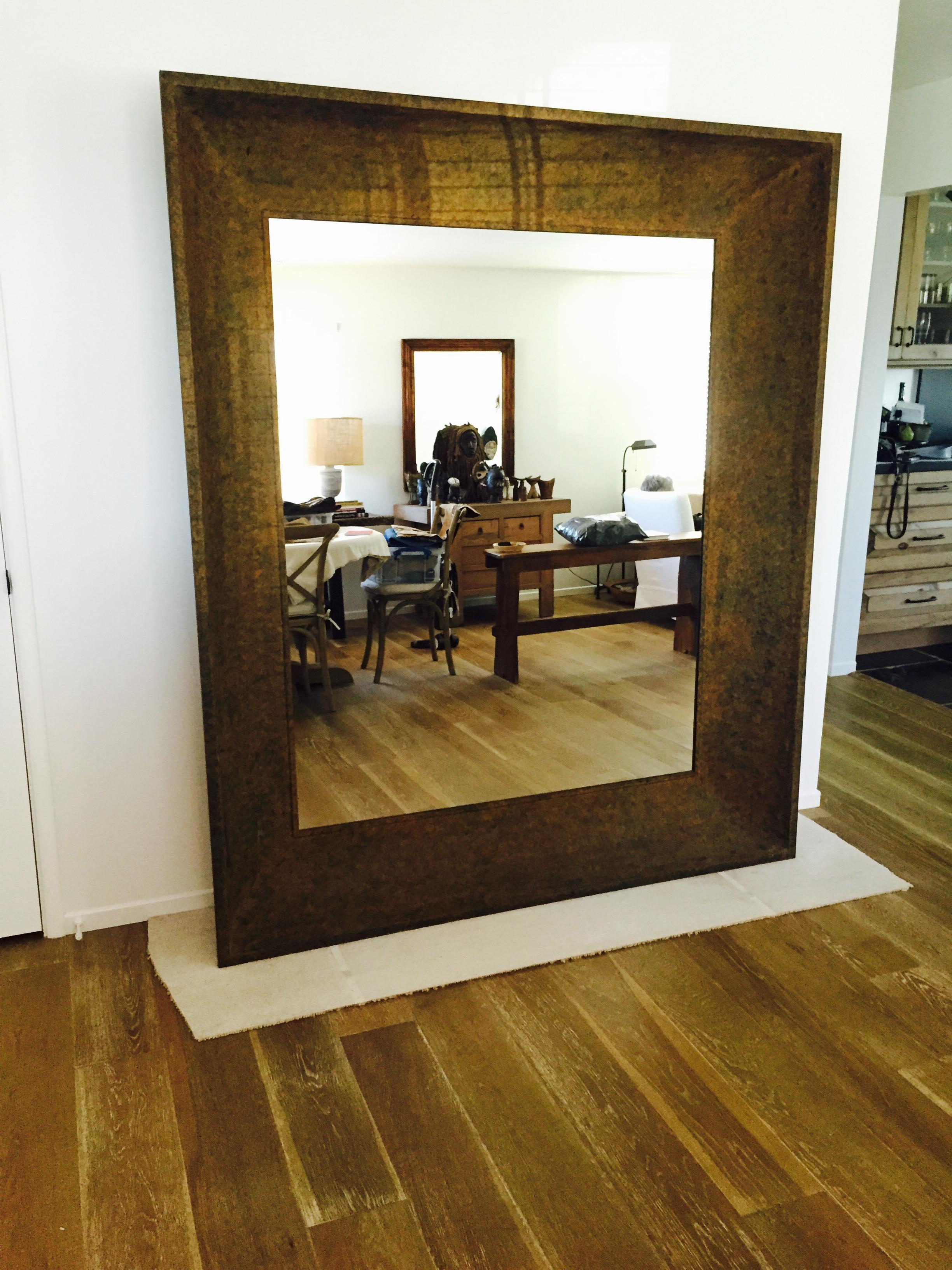 rustic wall mirrors oversized this is beautiful extra large wall mirror with hammered metal frame mottled rust extra large rustic wall mirror chairish