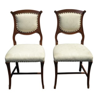 Pair Vintage French Provincial Federal White Accent Chairs W Decorative Nails For Sale