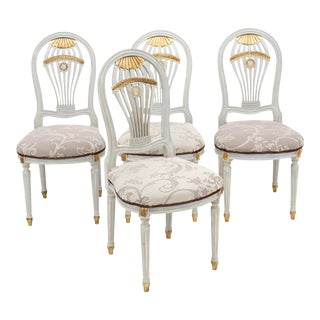 Set of Four Louis XVI Style Dining Chairs For Sale