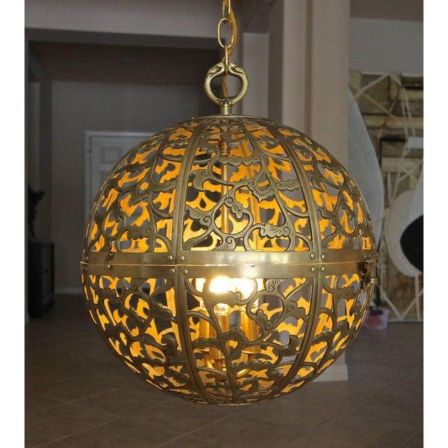 Large Japanese Asian Pierced Filigree Brass Ceiling Pendant Light For Sale - Image 9 of 11