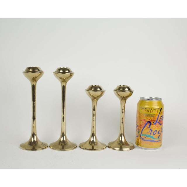 Gold Mid-Century Modern Globe Candlestick Holders - Set of 4 For Sale - Image 8 of 9