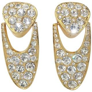 1980's Blanca Crystal Rhinestone Doorknocker Earrings For Sale