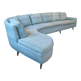 Vintage 1950s Curved Sectional Sofa by Erwin Lambeth For Sale