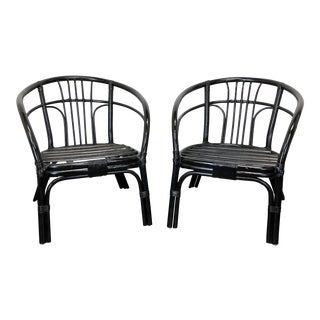 Black Rattan Faux Bamboo Chairs - Pair For Sale