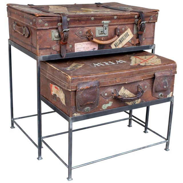 Pair of Antique English Luggage Nesting Tables For Sale - Image 13 of 13