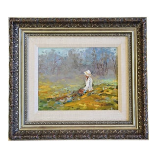 Neubauer, Vintage Plein Air Lady With White Bonnet Oil Painting For Sale