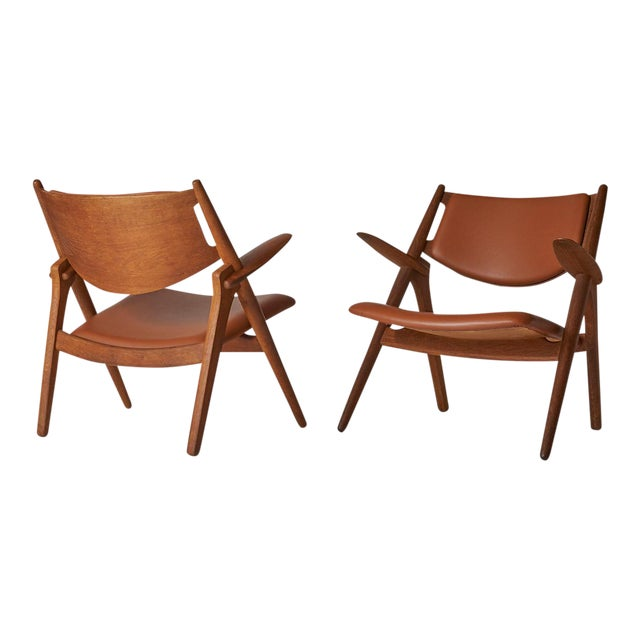 Pair of Sawbuck Chairs, Model Ch-28 by Hans Wegner For Sale