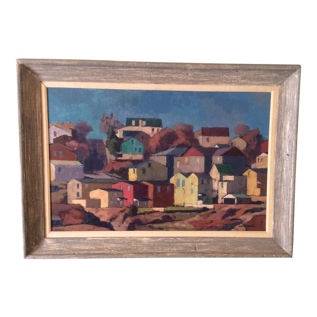 """Mid-Century Modernist Oil Painting """"Manayunk"""" by Antonio Martino For Sale"""