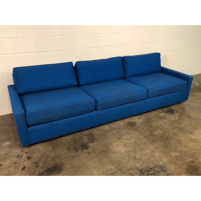 """Royal Blue Mid-Century Modern Sofa ~ 103"""" Long For Sale - Image 9 of 11"""