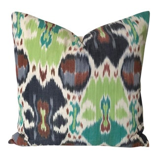 Contemporary Robert Allen Hawk Cove Ikat in Spring Green Designer Pillow Cover - 20x20 For Sale