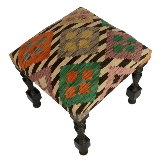 Textile Arshs Dora Chocolate/Ivory Kilim Upholstered Handmade Ottoman For Sale - Image 7 of 8