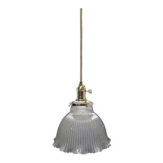 Antique Frosted Glass Holophane Pendant Light For Sale