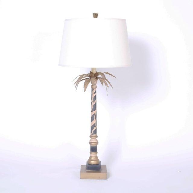 Palm Leaf And Faux Giraffe Print Table, Giraffe Print Floor Lamp