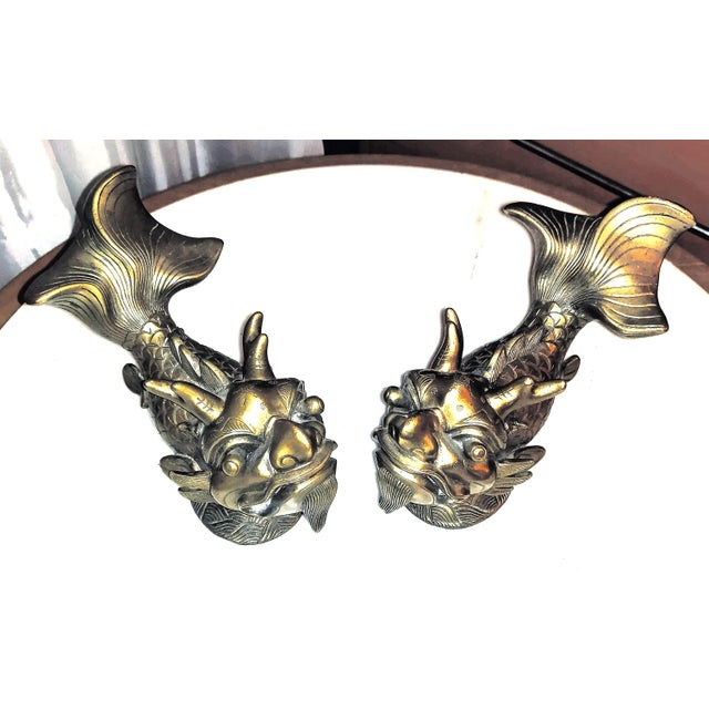 Late 19th Century Shiwan Koi Foo Dragon Brass Door Knockers - a Pair For Sale In Palm Springs - Image 6 of 8