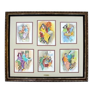 1970s Mid Century Modern Itzchak Tarkay Watercolor Mixed Media Original 6 Piece Set - Set of 3 For Sale