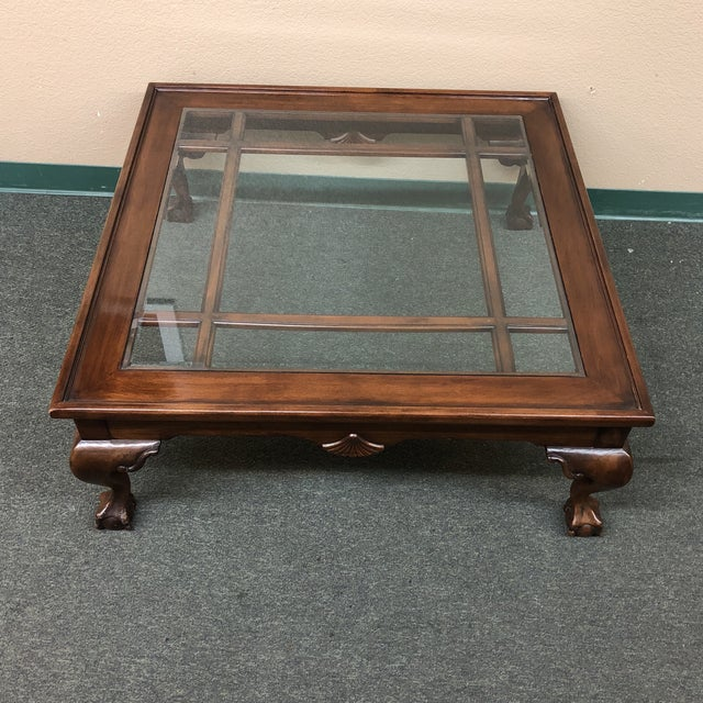 Square Wood & Glass Insert Coffee Table | Chairish