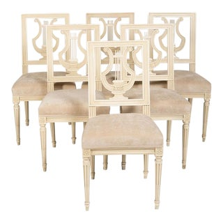 Jansen French Louis XVI Suede Upholstered Dining Chairs - Set of 6 For Sale